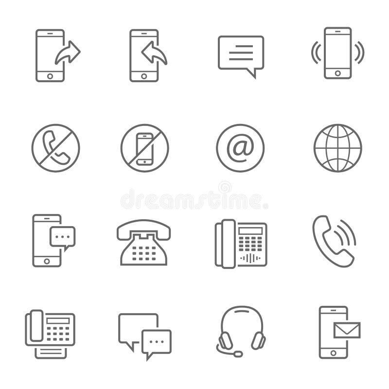 Lignes icône réglée - télécommunication illustration de vecteur