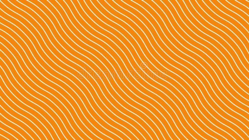 Lignes incurvées blanches dans le mouvement de vague dynamique, fond orange Les futures lignes diagonales g?om?triques mod?les fo illustration de vecteur