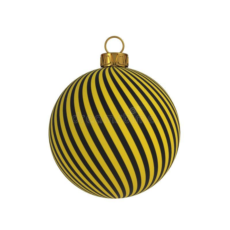 Lignes jaunes souvenir accrochant de convolution de noir de décoration de réveillon de la Saint Sylvestre de boule de Noël d'orne photographie stock