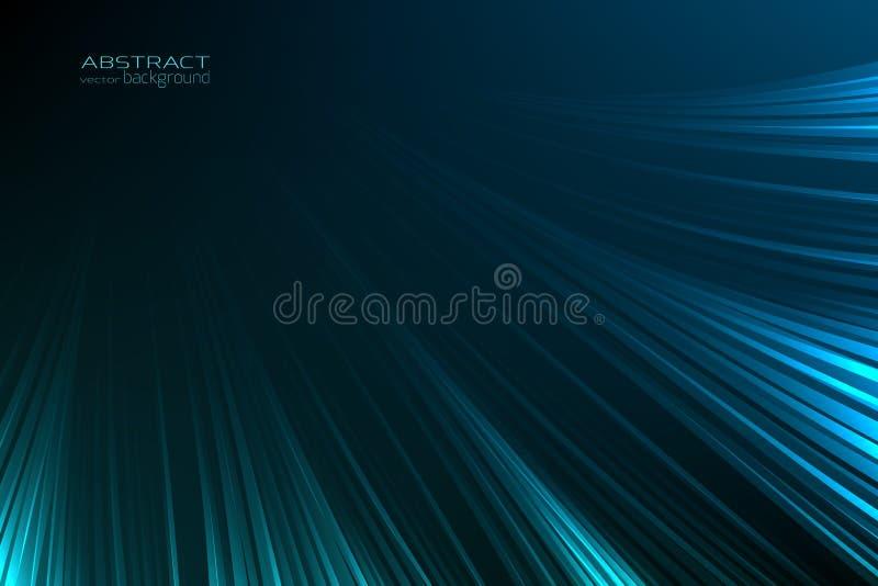 Lignes légères bleues au néon de lueur abstraite de fond Scintillement lumineux de trace de rayon de lueur d'instantané d'énergie illustration libre de droits