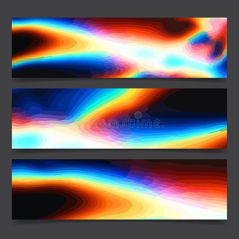 Lignes lumineuses d'art au néon coloré abstrait d'arc-en-ciel et taches multicolores, disposition de fête d'affiche de couleurs v illustration stock