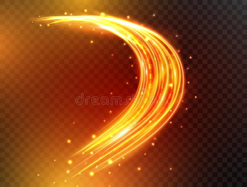 Lignes magiques de lampe au néon Courbes rougeoyantes du feu avec des étincelles d'isolement sur le fond transparent Vagues futur illustration libre de droits