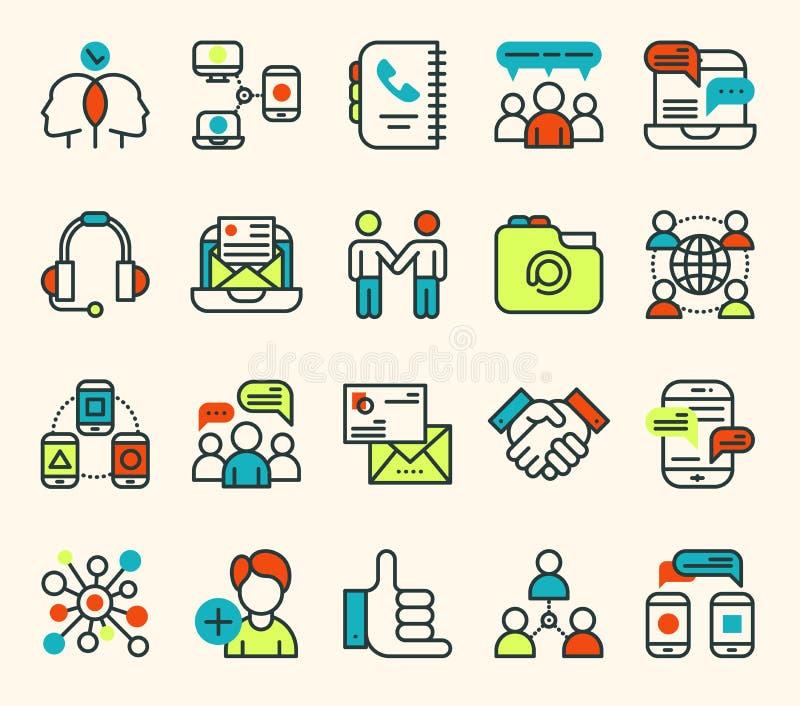 Lignes minces ensemble d'ensemble d'icônes de vecteur de connexion de communication d'affaires de système de calcul de grand de c illustration de vecteur