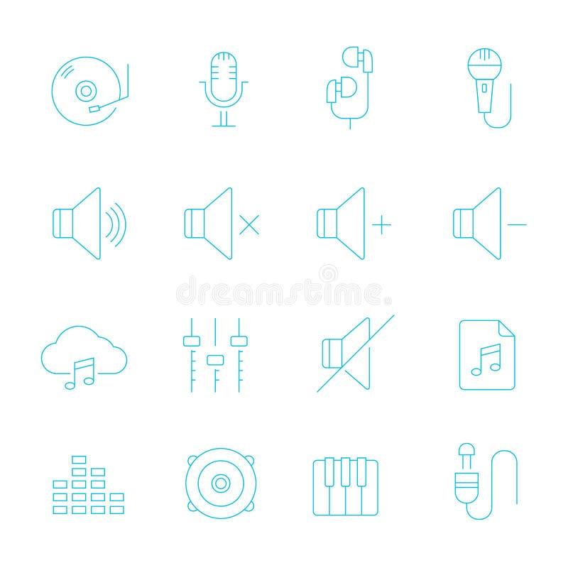 Lignes minces icône réglée - audio illustration libre de droits