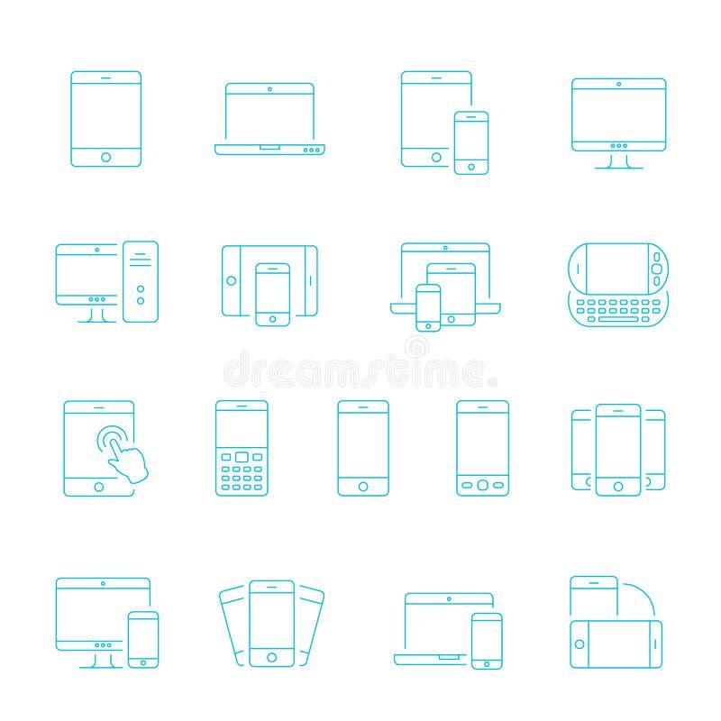 Lignes minces icône réglée - dispositifs sensibles illustration stock