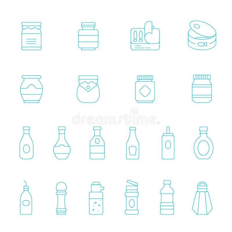 Lignes minces icône réglée - ketchup illustration stock