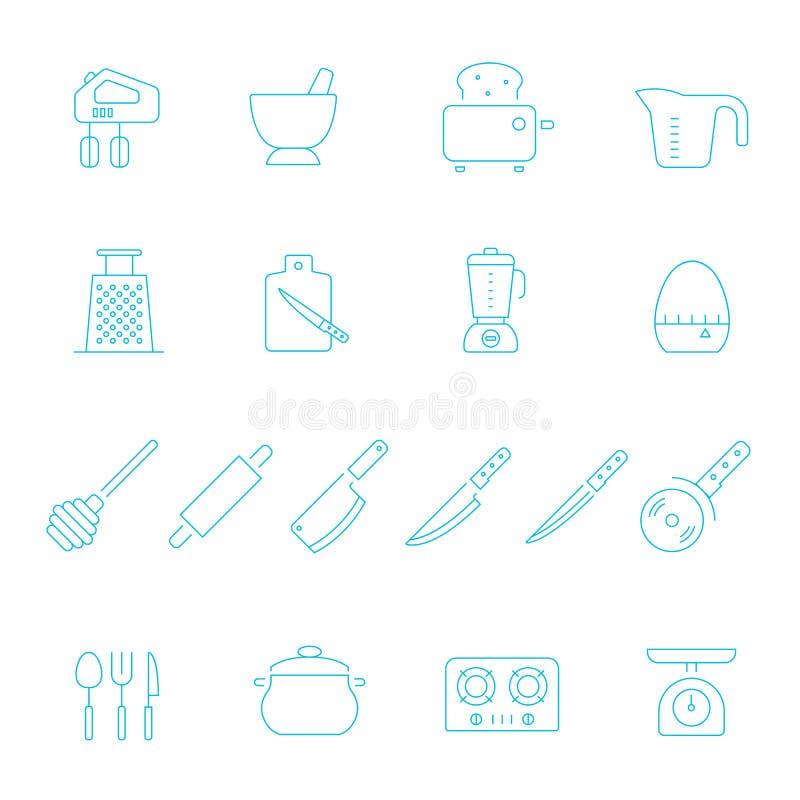 Lignes minces icône réglée - vaisselle de cuisine illustration de vecteur