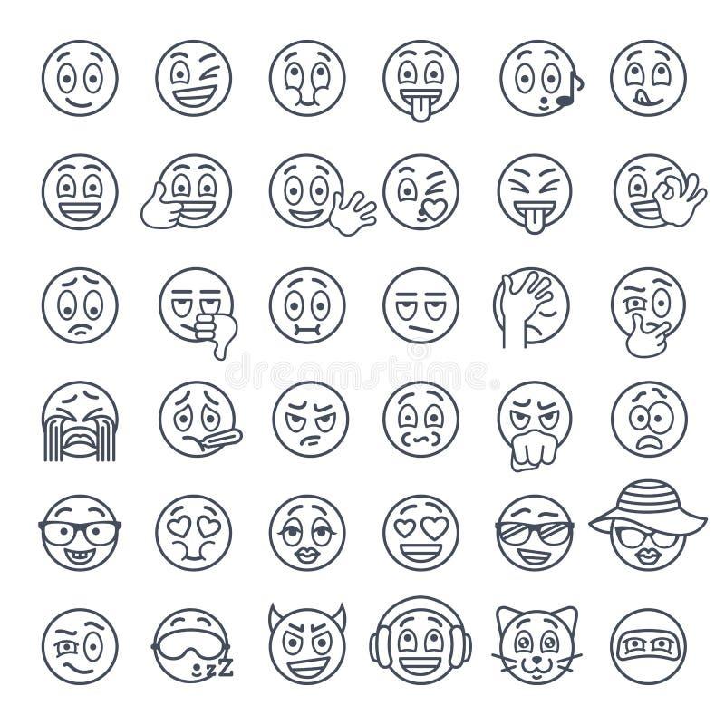 Lignes minces icônes plates d'emoji souriant de visage de vecteur réglées illustration stock