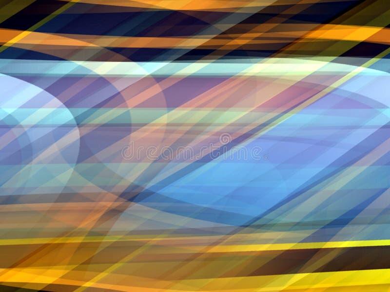 Lignes molles fond, les géométries colorées abstraites de bleu jaune d'or illustration de vecteur
