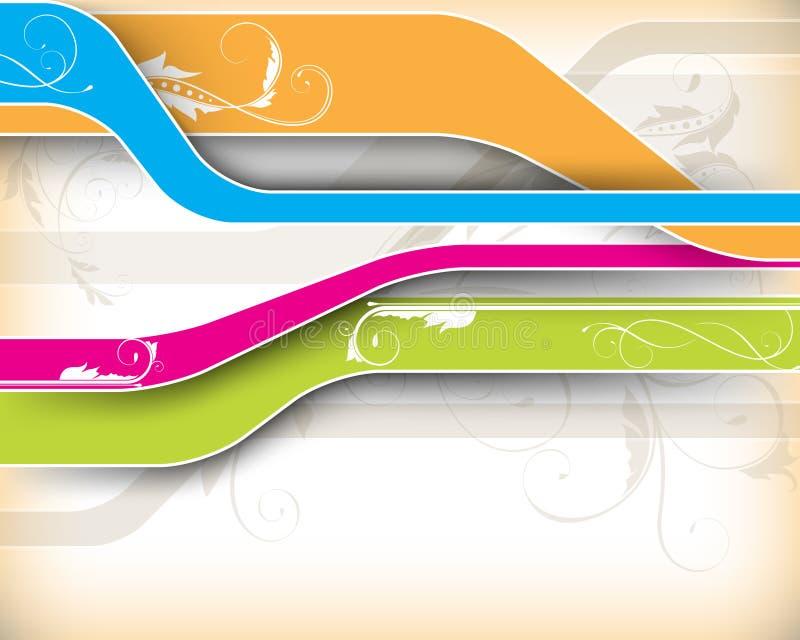 lignes multicolores avec le fond d'éléments de feuillage   illustration libre de droits