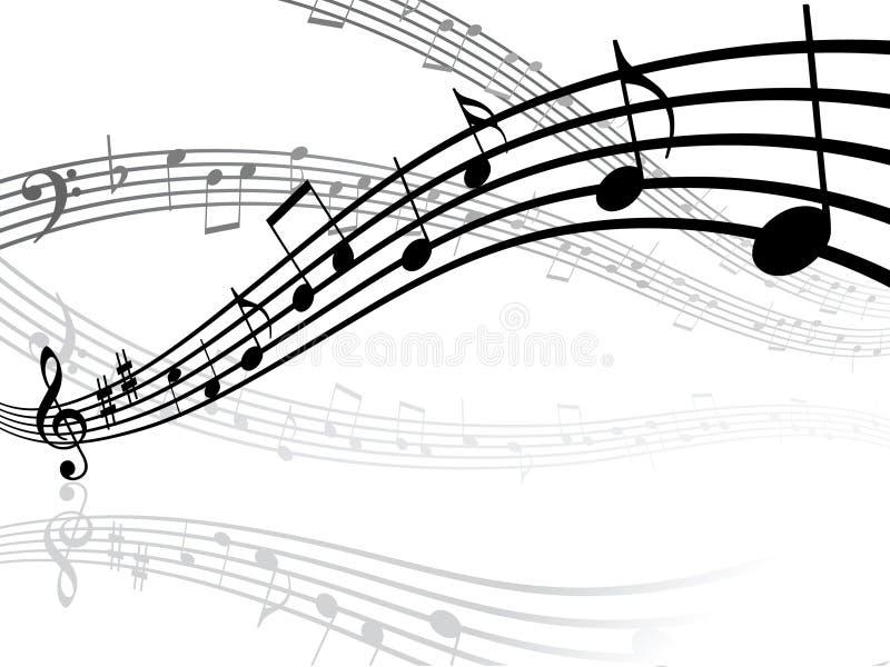 Lignes musicales avec des notes illustration stock