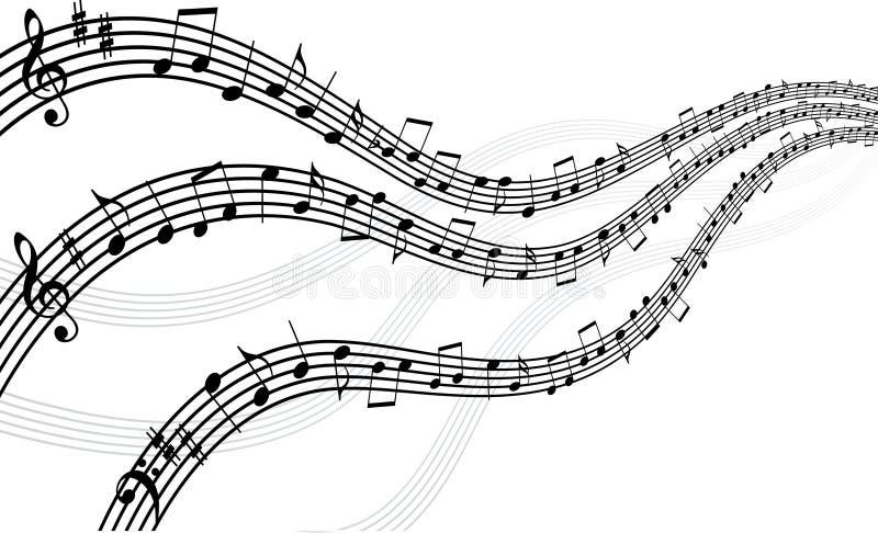 Lignes musicales avec des notes illustration libre de droits