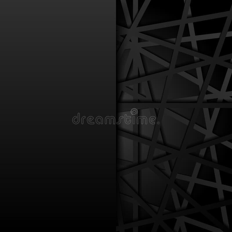 Lignes noires abstraites fond futuriste de chevauchement Conn. de Digital illustration libre de droits