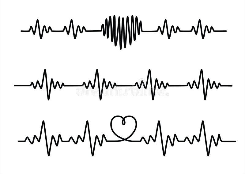 Lignes noires réglées de cardiogramme d'isolement sur le fond blanc illustration stock