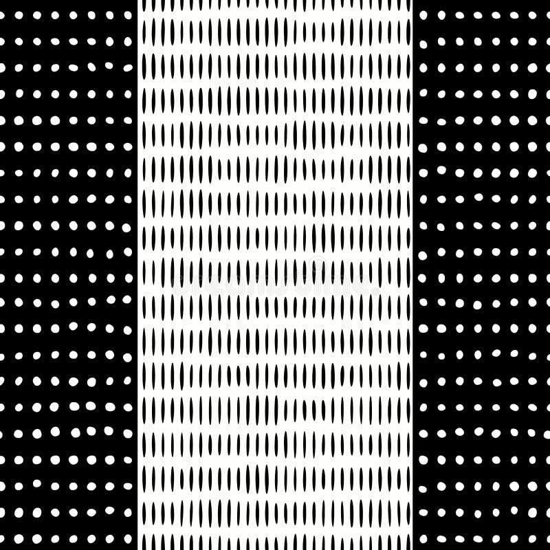 Lignes noires sans couture Dots Background blanc illustration stock