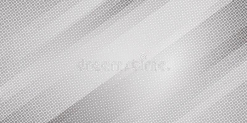 Lignes obliques abstraites fond de couleur grise et blanche de gradient de rayures et style tramé de texture de points Mod?le min illustration libre de droits