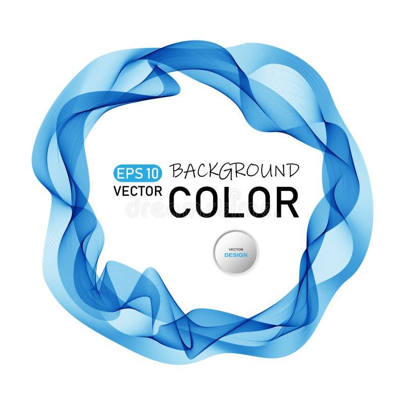 Lignes onduleuses abstraites bleues fond sous forme de cercle, onduleux futuriste de rond Trame arrondie illustration libre de droits