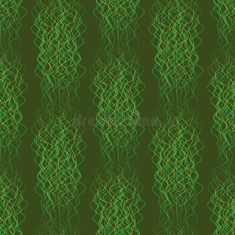 Lignes onduleuses d'abrégé sur sans couture modèle sur un fond vert illustration de vecteur
