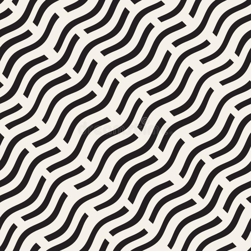 Lignes onduleuses dispersées tirées par la main texture de monochrome Configuration noire et blanche sans joint de vecteur illustration de vecteur
