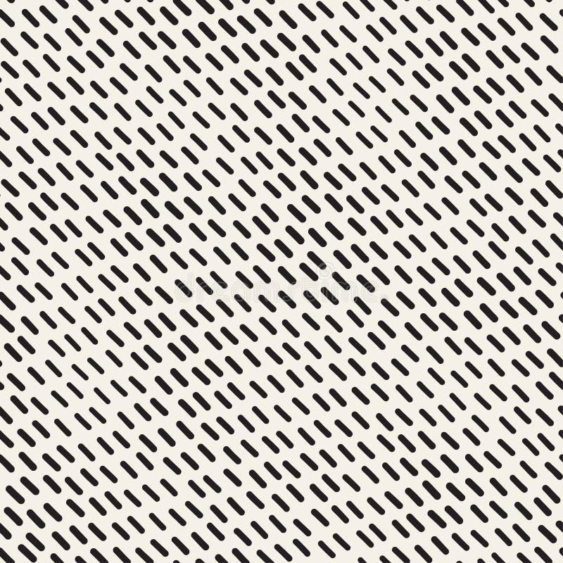 Lignes onduleuses dispersées tirées par la main texture de monochrome Configuration noire et blanche sans joint de vecteur illustration stock