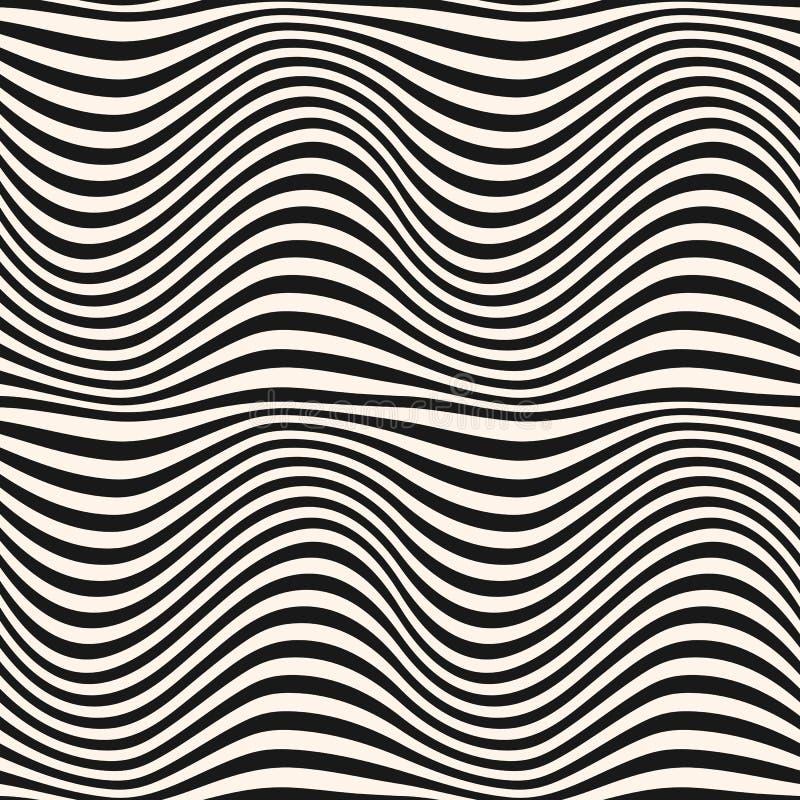 Lignes onduleuses incurvées horizontales modèle 3D effet dynamique, illusion du mouvement illustration libre de droits