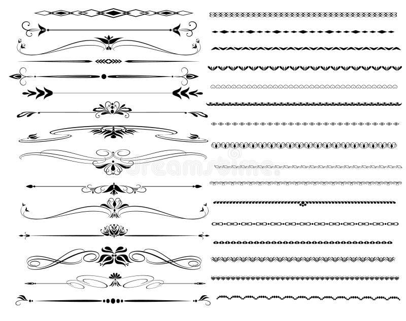 Lignes ornementales de règle dans la conception différente illustration de vecteur
