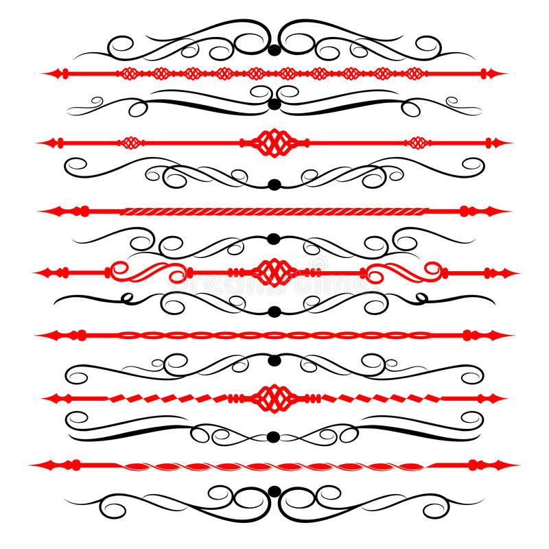 Lignes ornementales de règle en décor différent de conception illustration libre de droits
