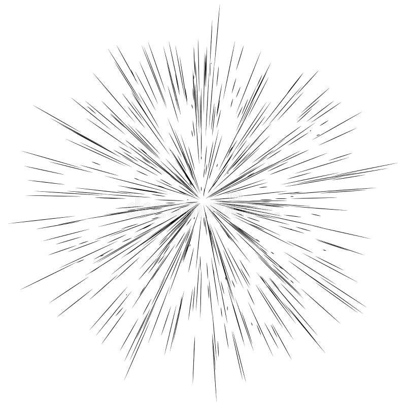 Lignes radiales, éclat d'étoile, fond de rayon de soleil Ennui, EFF de scintillement illustration stock