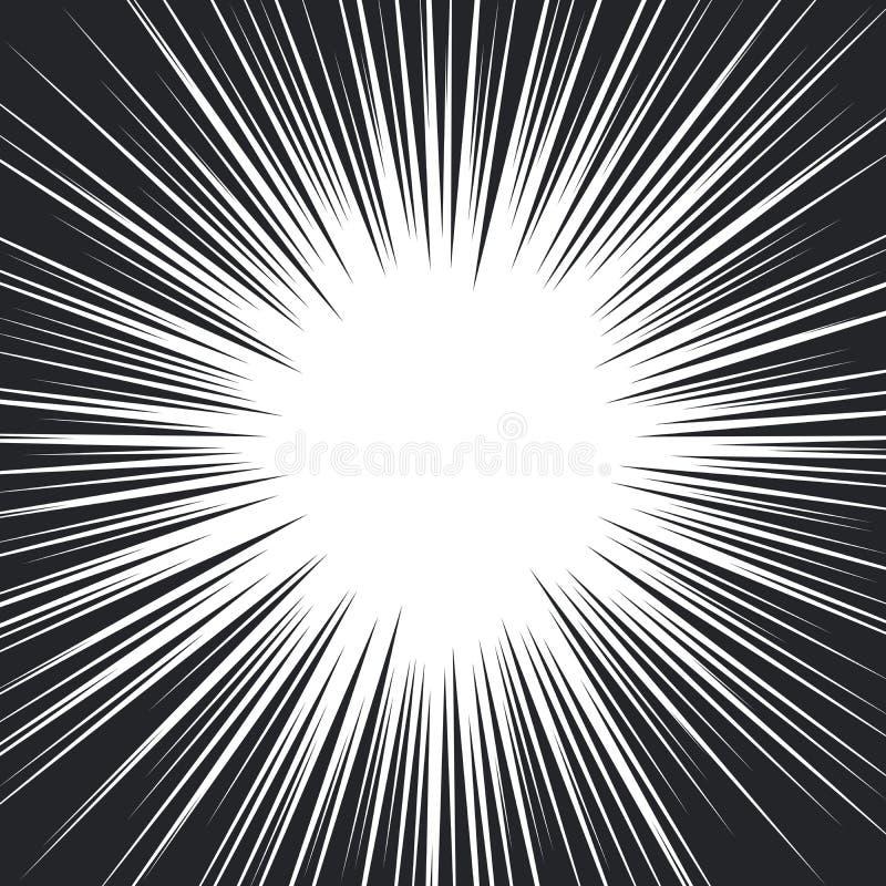 Lignes radiales noires et blanches de vitesse de bande dessinée illustration de vecteur