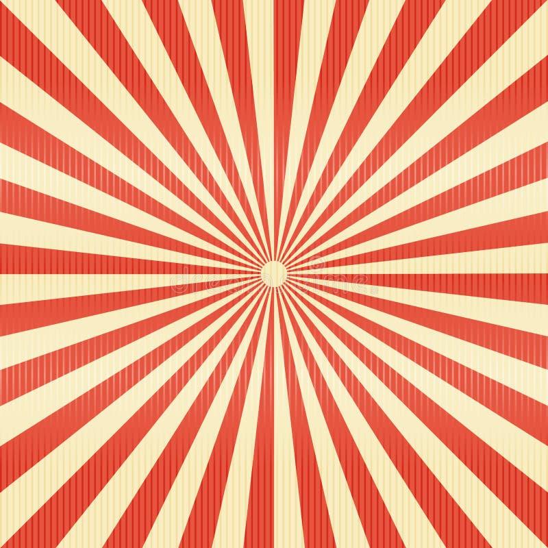 Lignes rayées papier de modèle Le rétro rayon a éclaté le backgr de couleur rouge illustration libre de droits