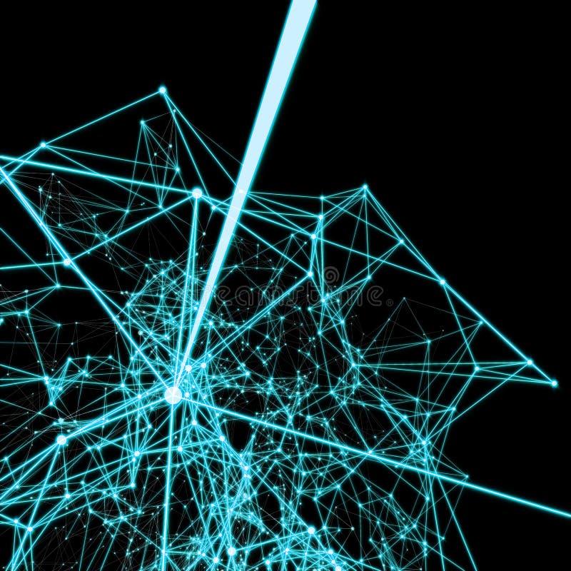 Lignes reliées électriques de la science fiction brillante abrégez le fond Turq illustration stock