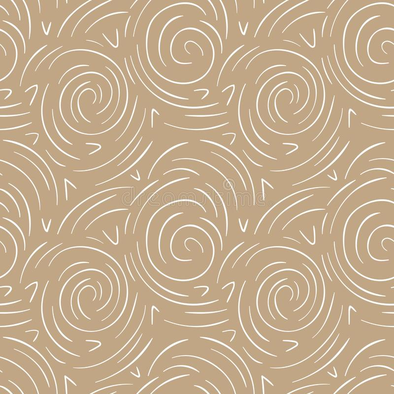 Lignes rondes modèle sans couture de vecteur abstrait Or moderne et fond blanc illustration stock
