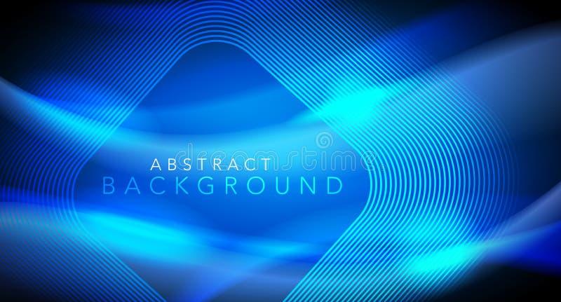 Lignes rougeoyantes au néon bleues de techno de vecteur futures, calibre abstrait futuriste de pointe de fond illustration stock