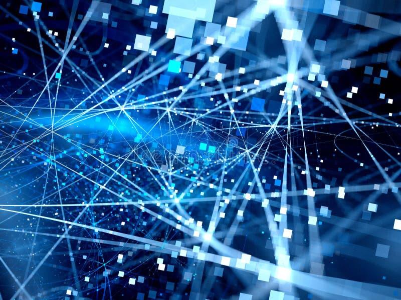Lignes rougeoyantes bleues de connexion avec des particules illustration libre de droits