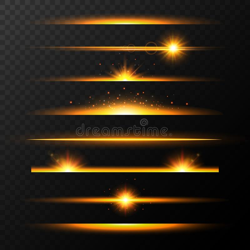 Lignes rougeoyantes d'or avec des étoiles réglées Ligne brillante ensemble Ensemble réaliste d'or de fusée de lentille Collection illustration libre de droits