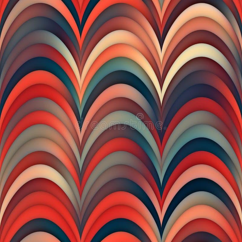 Lignes rouges bleues sans couture modèle rond onduleux de trame de rayures de gradient photos libres de droits