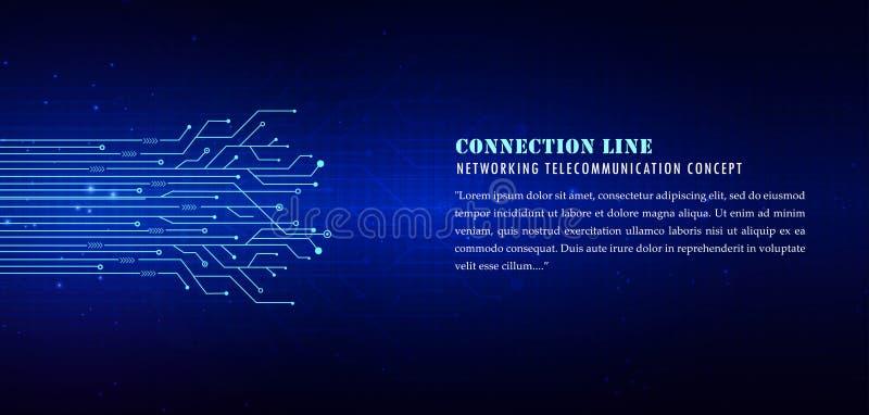 lignes technologiques bleues fond, lignes de connexion illustration de vecteur