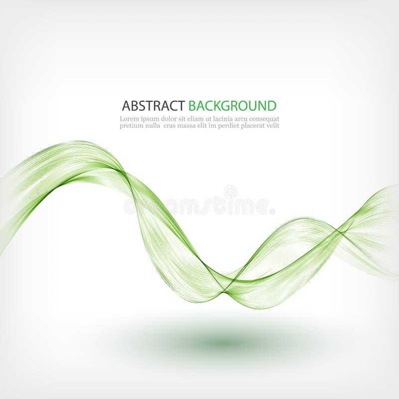 Lignes transparentes vertes sur un fond blanc Élément abstrait de conception de vague de fumée de fond illustration stock