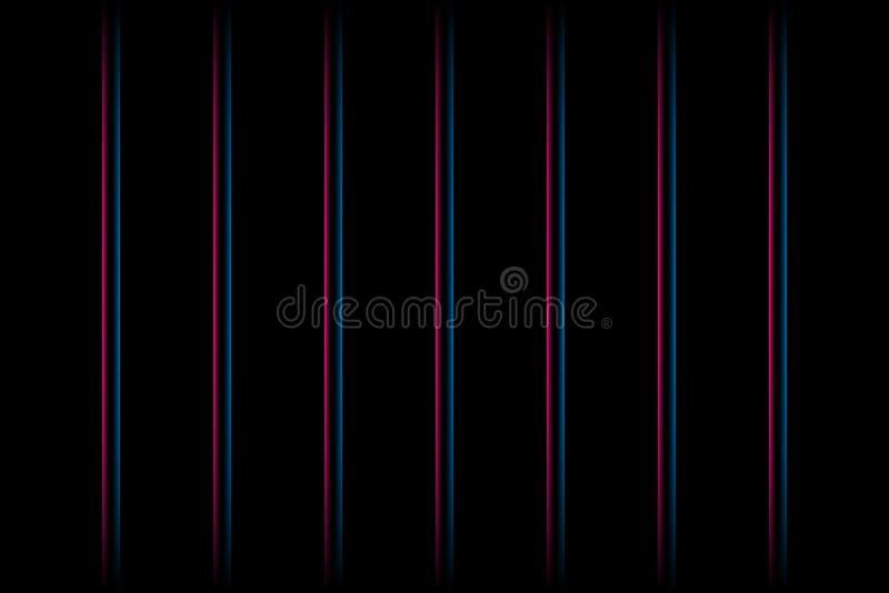 lignes verticales au néon rougeoyantes rouges et bleues de 3d abrégez le fond Vecteur ENV 10 illustration stock