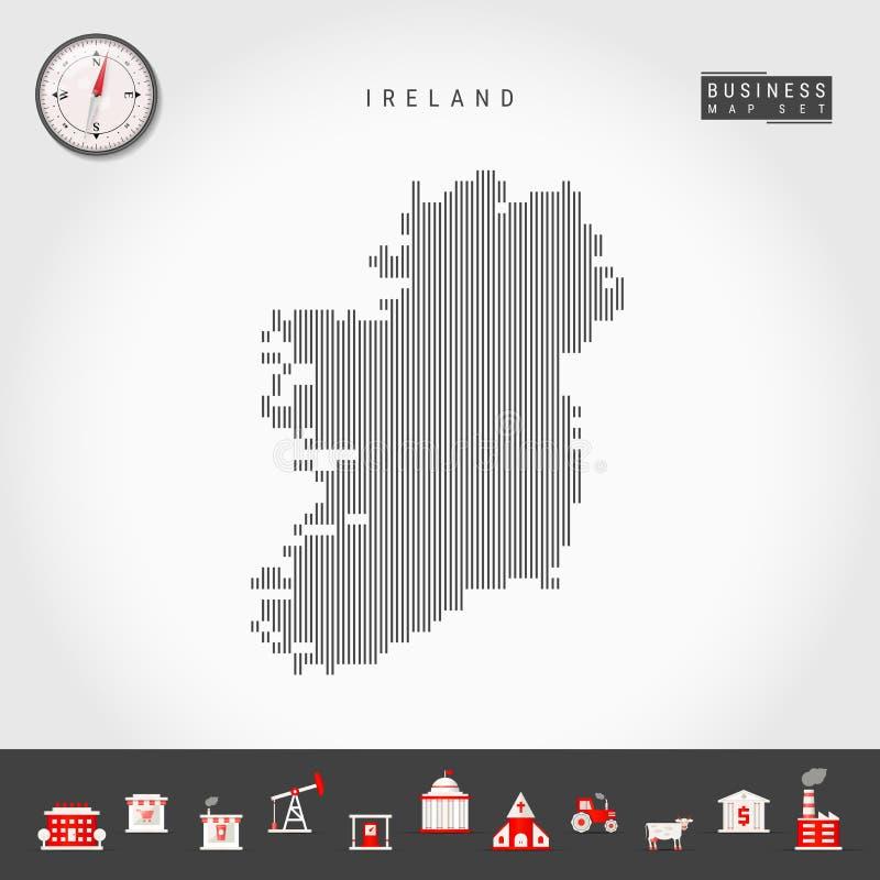 Lignes verticales carte de vecteur de l'Irlande Silhouette rayée de l'Irlande Boussole r?aliste les graphismes des affaires cs2 E illustration stock