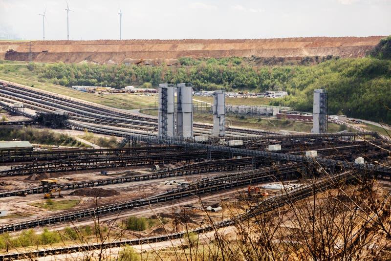 Lignite da mineração opencast de Garzweiler, Reno-Westphalia norte, germe fotografia de stock