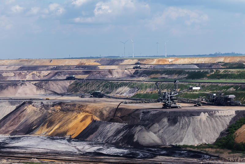 Lignite da mineração opencast de Garzweiler, Reno-Westphalia norte, germe fotografia de stock royalty free