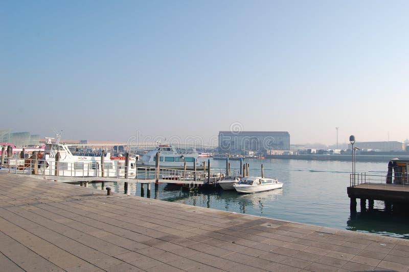 Ligplaats voor genoegenjachten en boten in Venetië royalty-vrije stock foto's