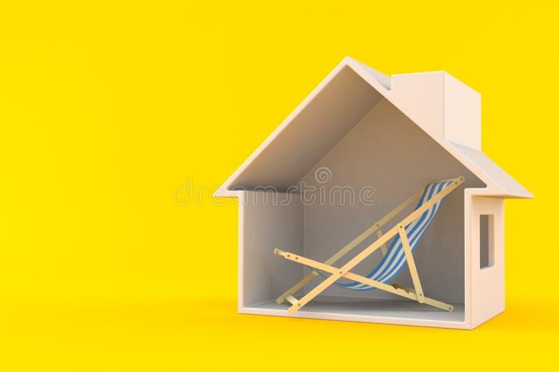 Ligstoel binnen huisdwarsdoorsnede vector illustratie