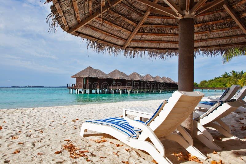 Ligstoel in de Maldiven stock afbeelding