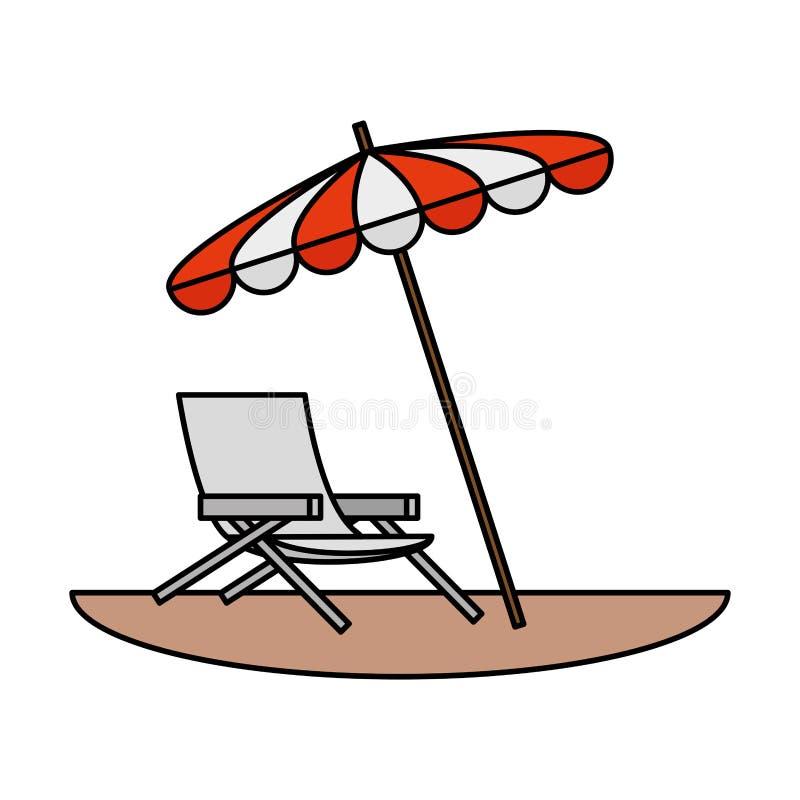 Ligstoel met parapluscène vector illustratie