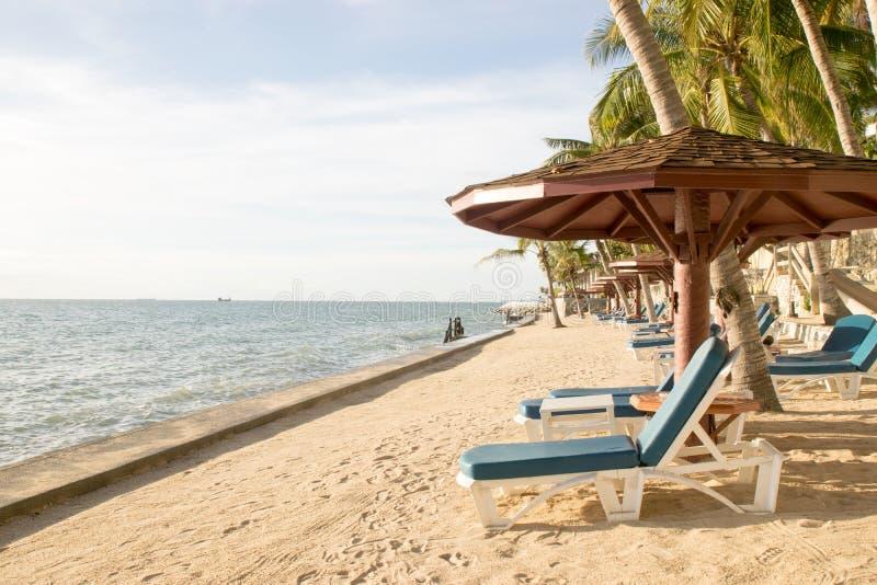 Ligstoelen op het strand stock afbeeldingen