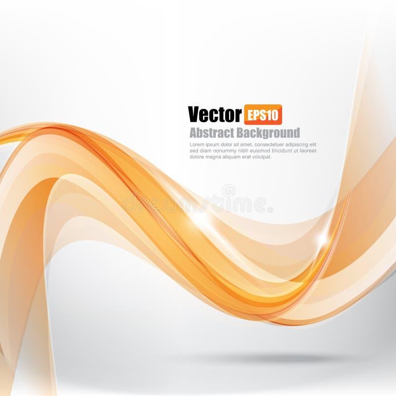 Ligth för abstrakt bakgrund orange kurva och vågbeståndsdelvektor I royaltyfri illustrationer