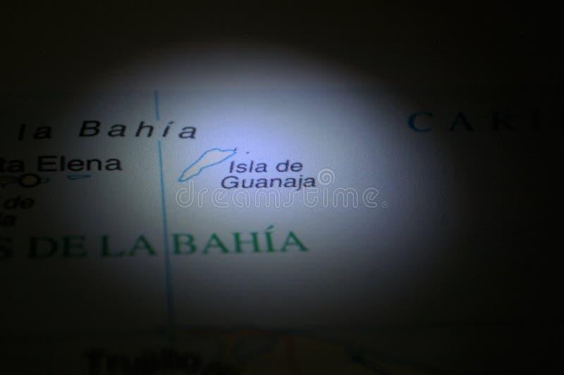 Ligth-ilumination auf einer Karte eine Honduras-Stadt Guanaja lizenzfreie stockfotografie