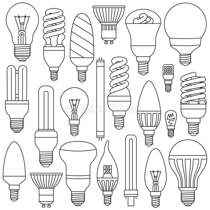 Ligth-Lampen eingestellt Umrissene Ikonen lokalisiert auf dem Weiß lizenzfreie abbildung